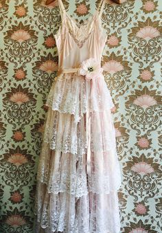 whisper pink & white tiered lace ruffled boho wedding dress by mermaid miss k Boho Wedding Dress, Boho Dress, Lace Dress, Wedding Dresses, Bohemian Mode, Lace Ruffle, Pink Lace, Cotton Lace, Spring Dresses
