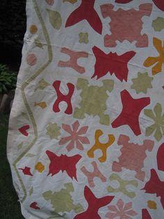 """Detail, Antique Applique Primitive Country Summer Quilt/Coverlet 166"""" x 8"""", eBay, preston523"""