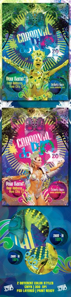 Carnaval Do Rio Flyer Template / $6. *** This flyer is perfect for the promotion of Spectacles, Festivals, Shows, Funny Events or Whatever You Want!. ***