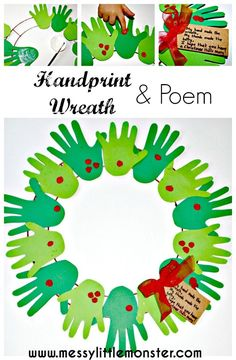 A handprint and fingerprint Christmas wreath with poem.  A simple kids Christmas craft suitable for toddlers and preschoolers.
