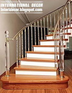 Crystal stair railings, handrails and crystal stair columns interior