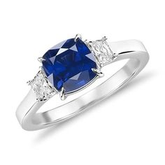 Sapphire and diamond three-stone ring in white gold ct. Blue Nile Jewelry, Rose Gold Jewelry, Sapphire Diamond, Blue Sapphire, Diamond Rings, Beautiful Engagement Rings, Three Stone Rings, White Gold, Wedding Rings