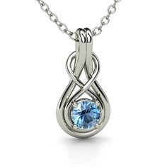 Round Blue Topaz Sterling Silver Necklace - Infinity Knot Pendant