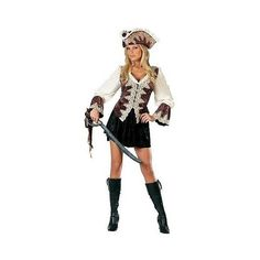 Royal Pirate Women's Costume ($43) ❤ liked on Polyvore featuring costumes, brown white, halloween, womens halloween costumes, adult women halloween costumes, party halloween costumes, lady pirate costume and adult women costumes