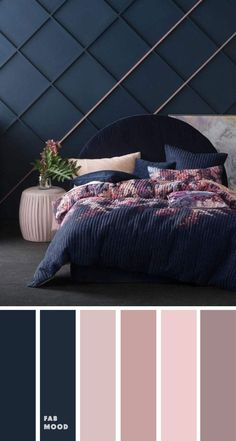 Bedroom color scheme ideas will help you to add harmonious shades to your home which give variety and feelings of calm. From beautiful wall colors. decor blue bedroom Beautiful bedroom color scheme : Dark blue, mauve and blush - Fabmood Bedroom Wall Colors, Bedroom Color Schemes, Home Decor Bedroom, Modern Bedroom, Closet Bedroom, Dark Blue Bedroom Walls, Calming Bedroom Colors, Blue And Pink Bedroom, Bedroom Wall Designs