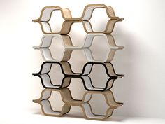 Modular honeycomb shelving.