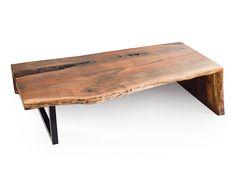 Rotsen Walnut Coffee Table - Side-fold with Metal Base
