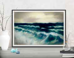 Add wave power to your art walls with this ocean print decor! Shop printables at FraBorArt. #walldecor #homedecor #interiordesign #painting # modernart #abstract #digitalart #downloadable #printable #affordable #etsy #art #fraborart #art #landscape #sea #wave