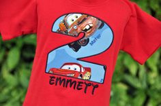 Personalized Cars Birthday Shirt by AddieKakesKreations on Etsy 2yr Old Birthday, Kids Birthday Themes, Birthday Fun, Birthday Shirts, Car Themed Parties, Cars Birthday Parties, Disney Cars Party, Race Car Party, Continental