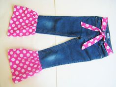 Sewing Patterns for Girls Dresses and Skirts: Amelia's Ruffled Pants, Jeans Refashion Sewing Tutorial
