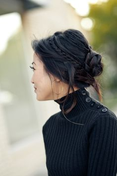 updo idea. I like the braid going back. Maybe loosely curl it first? and then go back into a cute low braided bun?