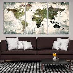 43194 - World Map Canvas PRINT, World Map Canvas Art, Large World Map PUSH Pin Canvas Print, World Map, World Map Art Print, World Map Wall Art,