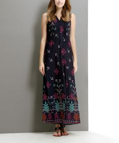 Loving this Navy Picotage Button-Front Maxi Dress on #zulily! #zulilyfinds