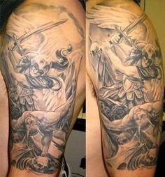 Devil Death Tattoo On Shoulder