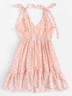 Shop Polka Dot Ruffle Hem Cami Dress at ROMWE, discover more fashion styles online. Cute Fashion, Girl Fashion, 2000s Fashion, Mode Rockabilly, Tulle Wedding Skirt, Dress Outfits, Fashion Dresses, Mode Ootd, Modest Bridesmaid Dresses