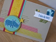 Stoff und Stempel Farbenfrohe Kinderkarte