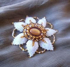 "EBWC challenge"" Destinations"" Beaded brooch ,vintage style with glass cabochon,beaded jewelry, Spring, Floral accessories."