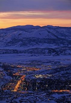 Steamboat Springs, CO- View at night. --- my memory of Steamboat Springs is the most beautiful snowfall I've ever seen!