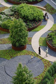 公寓蜿蜒的屋顶花园 Parc Nouve... #paisajismo