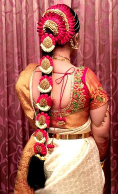 South Indian bride. Temple jewelry. Jhumkis.Cream silk kanchipuram sari with…