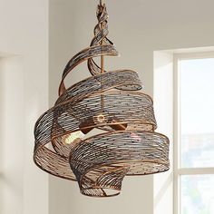 This intriguing contemporary three-light pendant features a swirling hand forged recycled steel shade in a hand-applied two-tone hammered ore finish. high x wide. Style # at Lamps Plus. Entry Chandelier, Chandelier Lighting Fixtures, Pendant Chandelier, Pendant Lighting, Chandeliers, Light Fixtures, Suspension Diy Luminaire, Basket Lighting, 3 Light Pendant