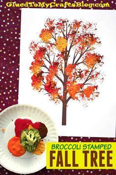 Broccoli Stamped Fall Tree - Kid Craft Thanksgiving Crafts For Kids, Fall Crafts For Kids, Fun Crafts, Art For Kids, Decor Crafts, Harvest Crafts For Kids, Tree Crafts, Kids Fun, Spring Crafts
