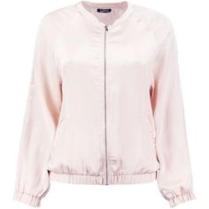 Boohoo Maya Satin Bomber Jacket (195 GTQ) ❤ liked on Polyvore featuring outerwear, jackets, satin bomber jackets, pink jacket, puffer jacket, blouson jacket and satin jackets