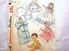 Vintage 1950s Baby Doll Clothes Pattern Simplicity Tiny Tears & Betsy Wetsy Doll viewed on Etsy by PatternsFromThePast