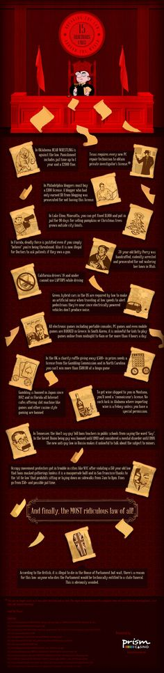 Breaking the Law: 15 ridiculous laws. #infografia #infographic