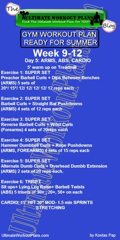 3 GYM WORKOUT PLAN READY FOR SUMMER MEN DAY 5 ARMS ABS » UltimateWorkoutPlans.com