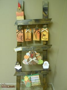 Ladder & Monthly Kit | Crafty Wood Cutouts Thanksgiving Wood Crafts, Fall Crafts, Holiday Crafts, Wooden Projects, Wooden Crafts, Old Ladder Decor, Crafts To Sell, Diy Crafts, Wood Transfer
