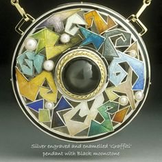 """Phil Barnes, silver engraved and enamelled """"Graffiti"""" pendant with black moonstone"""