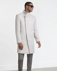 Image 3 of FUNNEL COLLAR COAT from Zara