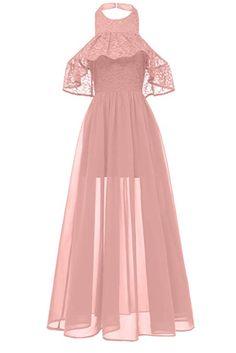 ab32e77c89 MILANO BRIDE Women s Elegant Lace Cocktail Prom Dress Illusion Halter Pary Formal  Dress-M-