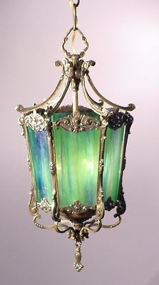 Blue Green Glass Lantern.