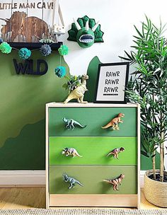 Mum creates a dinosaur bedroom using bargain buys from Wilko, Primark and Argos Dinosaur Kids Room, Boys Dinosaur Bedroom, Dinosaur Room Decor, Teen Bedroom Designs, Bedroom Themes, Kids Bedroom, Bedroom Ideas, Jungle Bedroom, Bedroom Hacks
