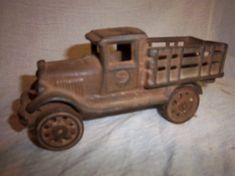 Antique Vintage 1920's Cast Iron Toy Stake Truck Great Estate Find Farm Fresh