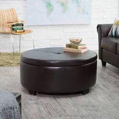 Belham Living Corbett Round Coffee Table Storage Ottoman - RH140807