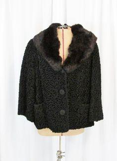Vintage Coat: Black Persian Lamb with Fur Collar by FairSails