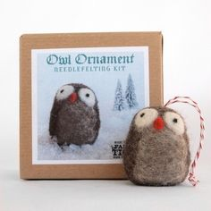 Holiday Owl Ornament Needle Felting Kit by fancytiger on Etsy. I want to make this for my tree!