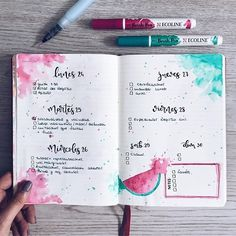 Bullet Journal pages, inspiration and ideas for keeping an art journal or a travel journal or notebook