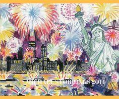 July 4th in New York City as seen in New York in Four Seasons...by artist, Michael Storrings