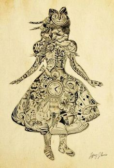alice in wonderland art.this would make a sick tat. Alice In Wonderland Party, Adventures In Wonderland, Alice In Wonderland Artwork, Lewis Carroll, Tim Burton, Alice Madness, Fairytale Art, A Level Art, Mad Hatter Tea