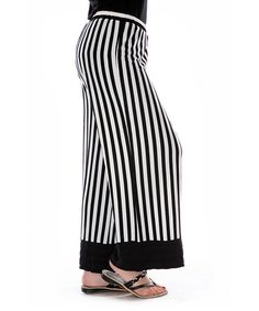 Loving this Black & White Stripe Palazzo Pants on #zulily! #zulilyfinds