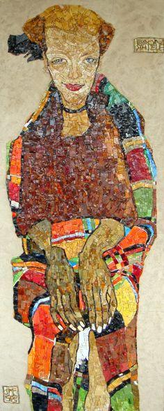 Egon Shiele interpretation in mosaic by Carolina Zanelli & Evelina Della Vedova using Venetian Smalti and Ecological Smalti. www.mosaicrepublic.com.au