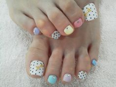 Cute Spring toe nail design, i would probably do stripes instead of dots, like the different pastel color combo