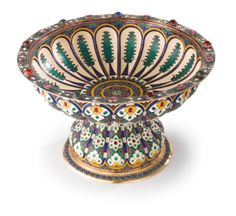 An Unusual Russian Gilded Silver and Enamel Jeweled Tazza, Antip Kuzmichev, Moscow; Retailed by Tiffany & Co., circa 1900