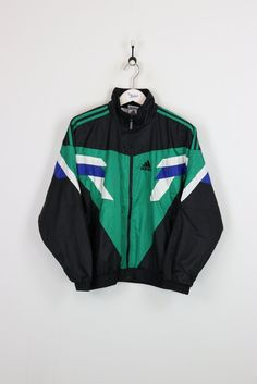 Adidas Shell Suit Jacket Black/Green Small