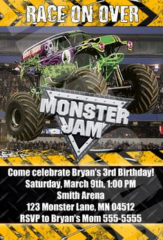 Birthday monster jam grave digger ticket invitation u print monster jam monster trucks birthday party by digipopcards on etsy 1599 filmwisefo