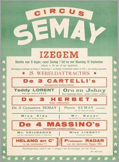Affiche voor Circus Semay in Izegem, 1952